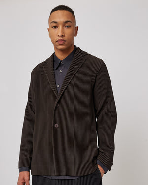 Pleated Button Down Jacket in Dark Brown