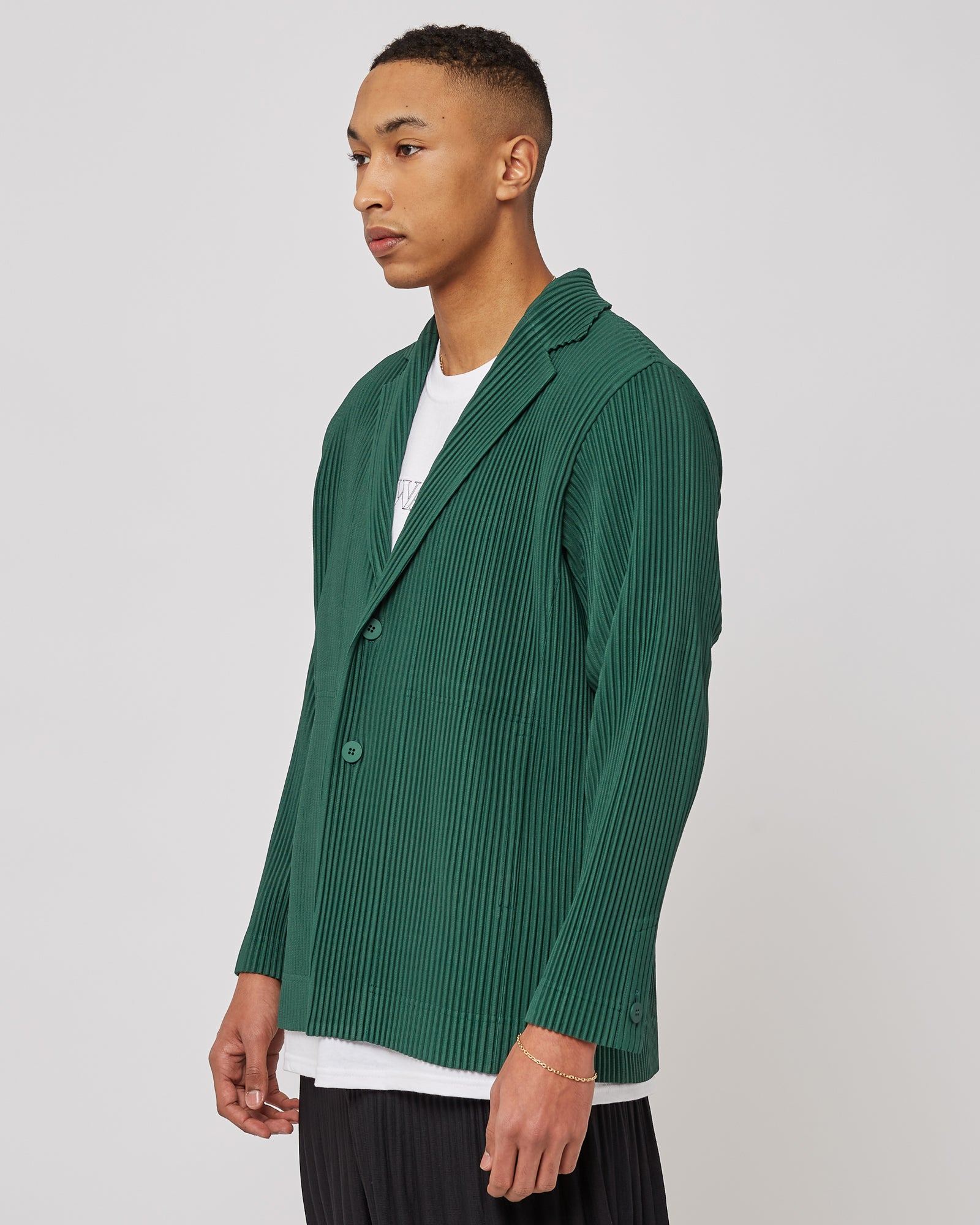 Pleated Button Down Jacket in Green