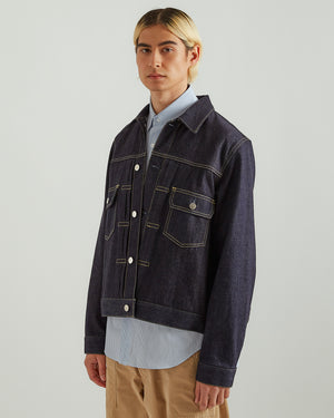 Pleated Denim Jacket in Indigo