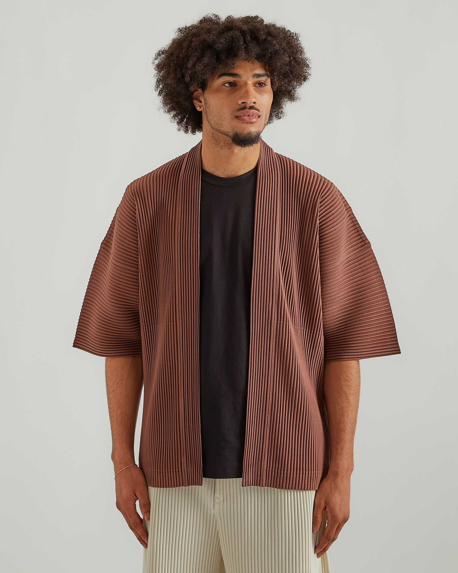 Pleated Kimono in Clay