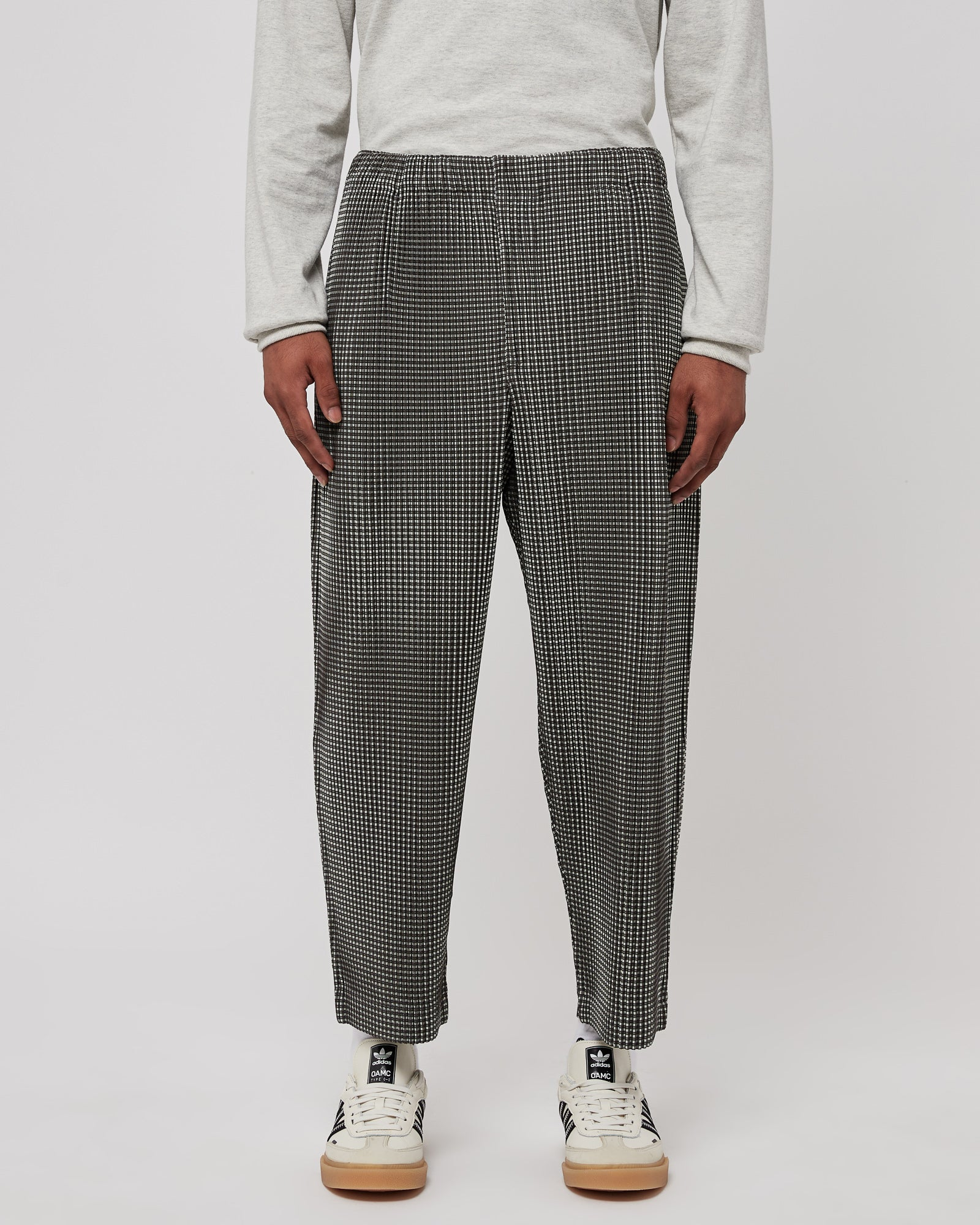 Pleated Pants in Gray Check