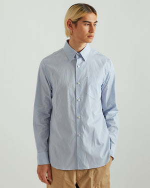 Pleated Pinstripe Shirt in Blue