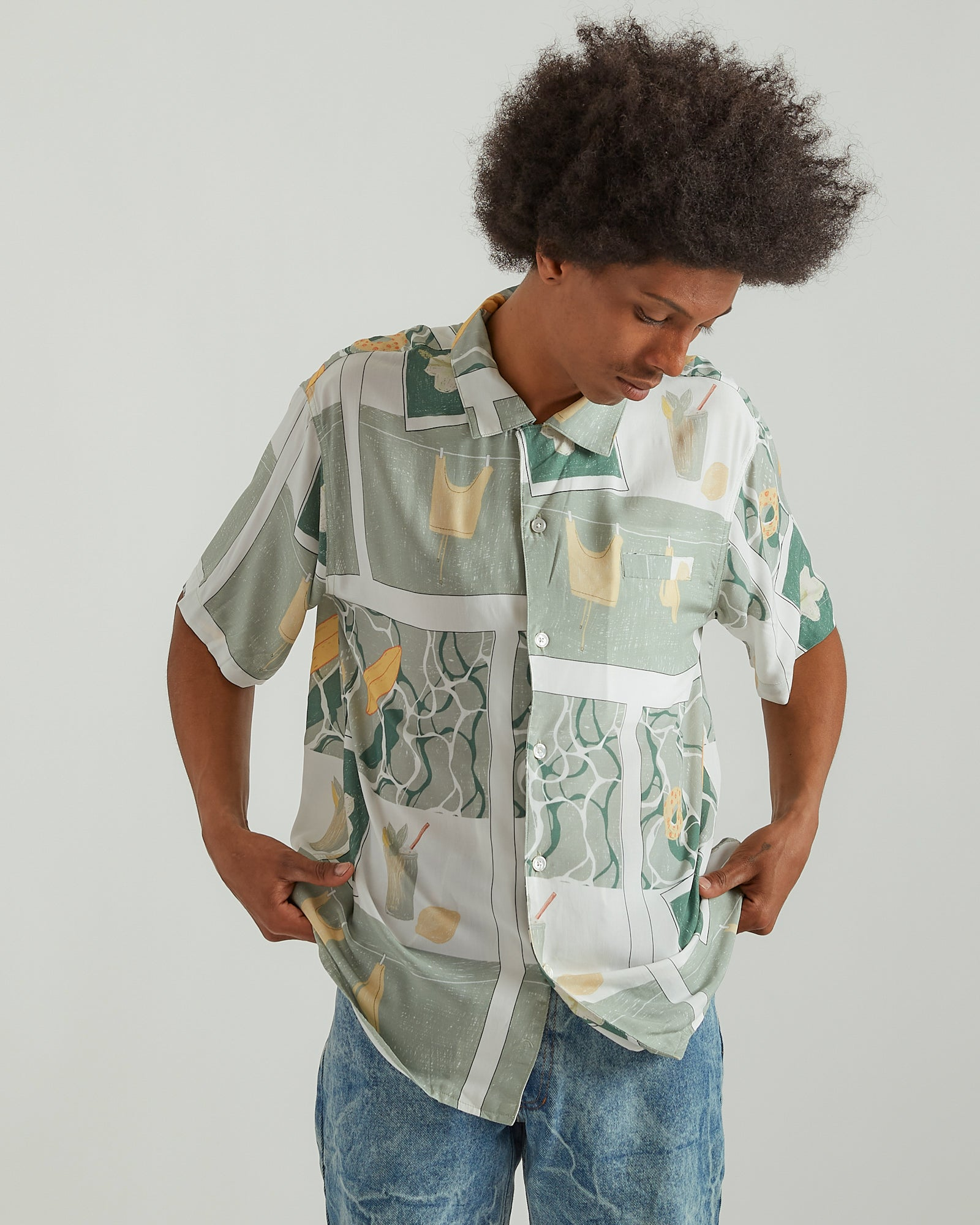 Printed Camp Shirt in Green