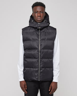 Puffer Vest With Buckle in Black