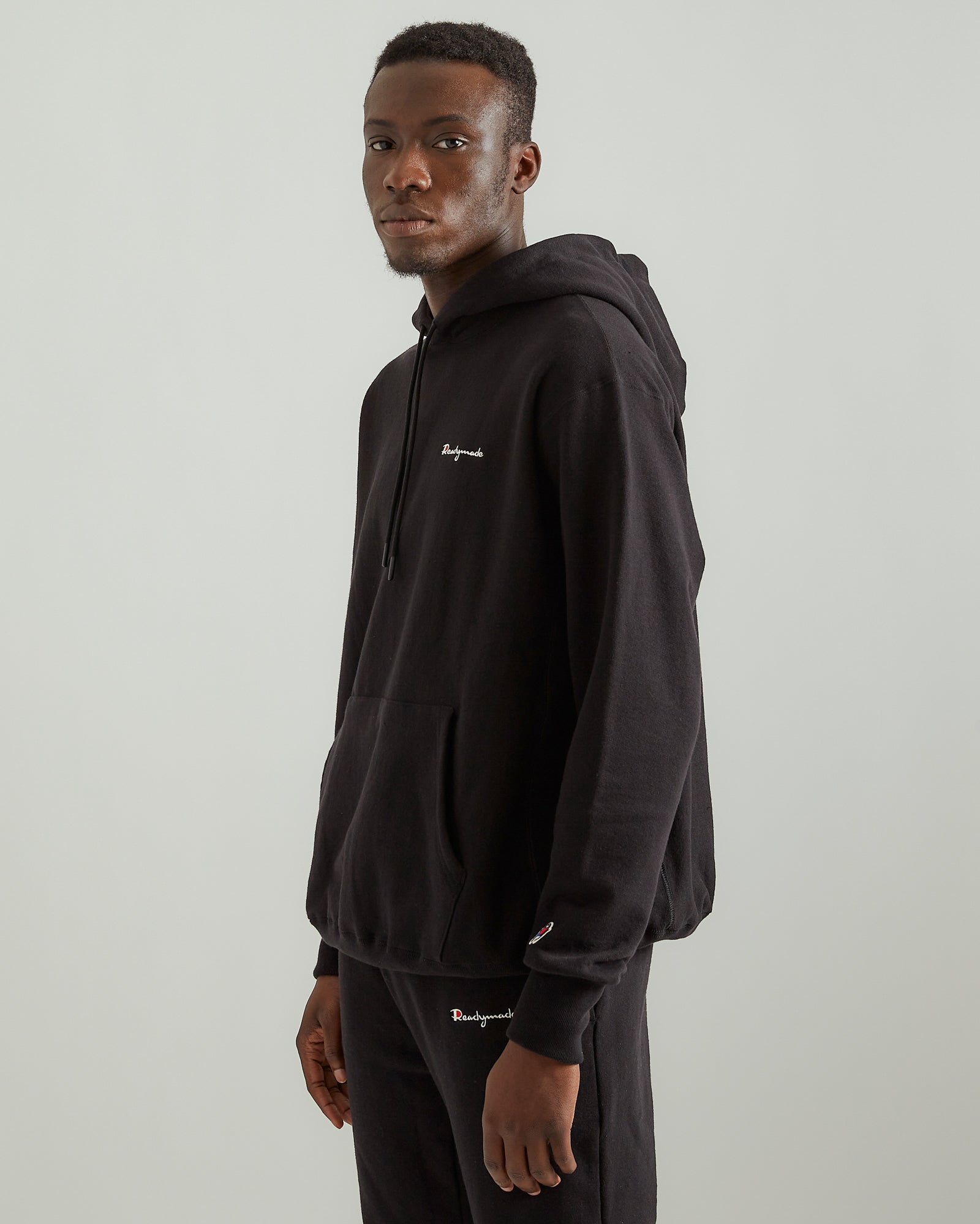 Pullover Cotton Hoodie in Black