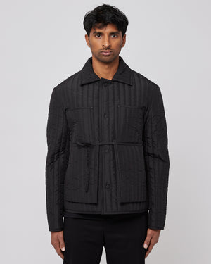 Quilted Worker Jacket in Black