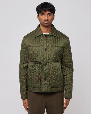 Quilted Worker Jacket in Olive