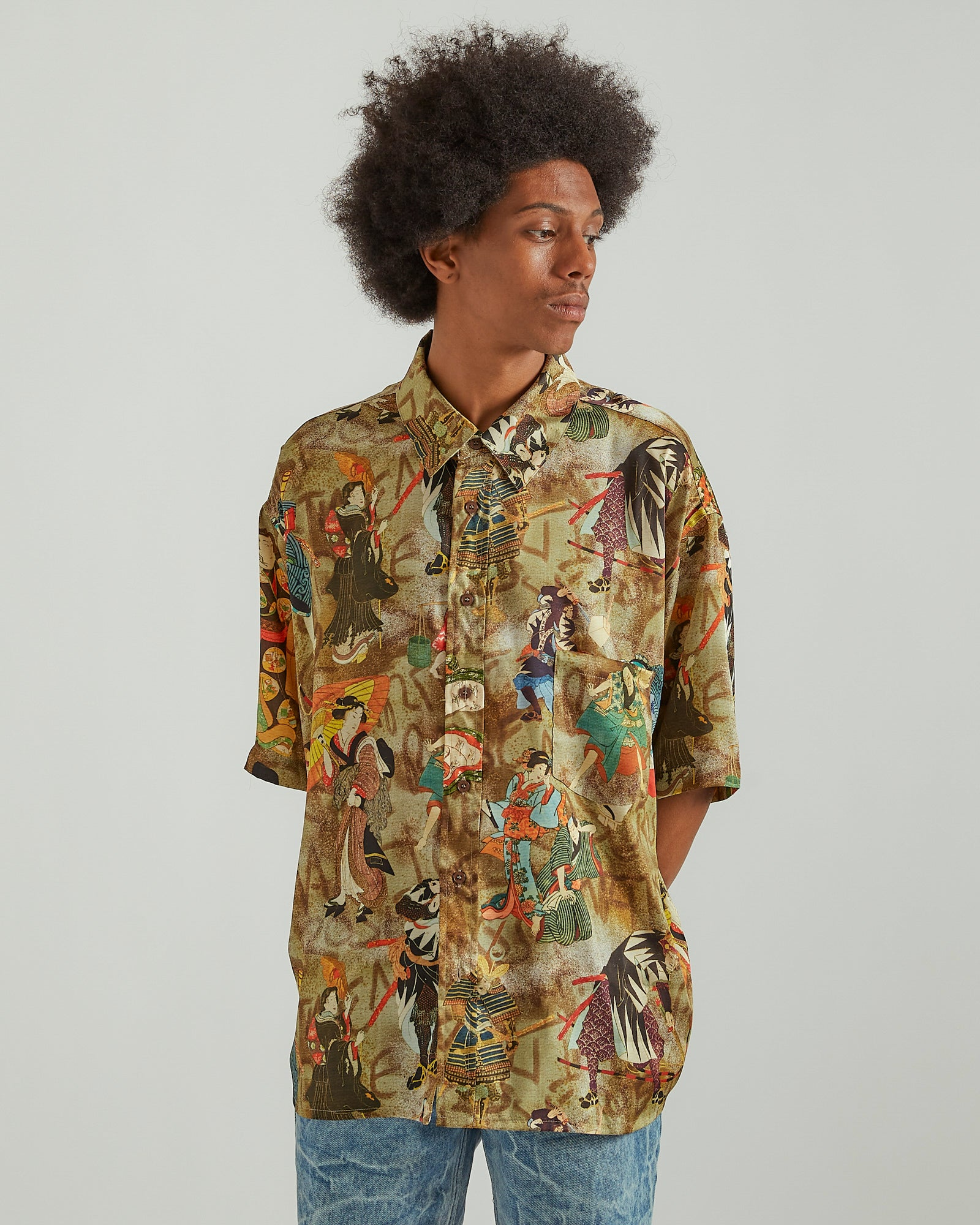 Duel S/S Shirt in Brown/Red