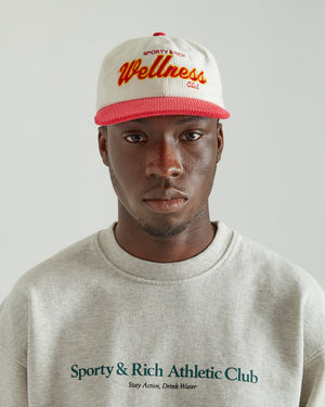 Wellness Club Hat in White Corduroy/Red