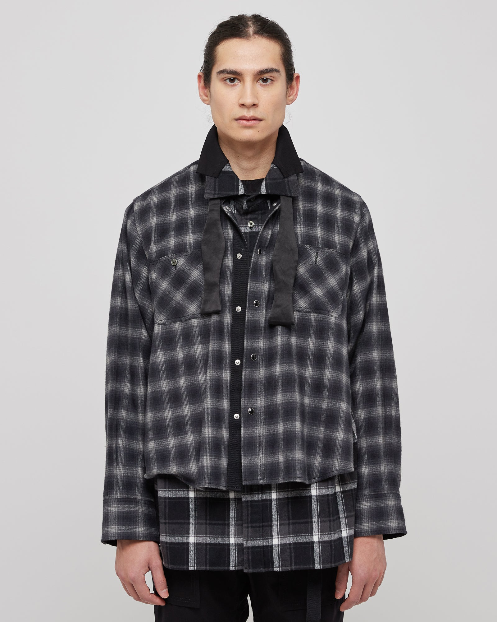 Ombre Check Shirt in Black