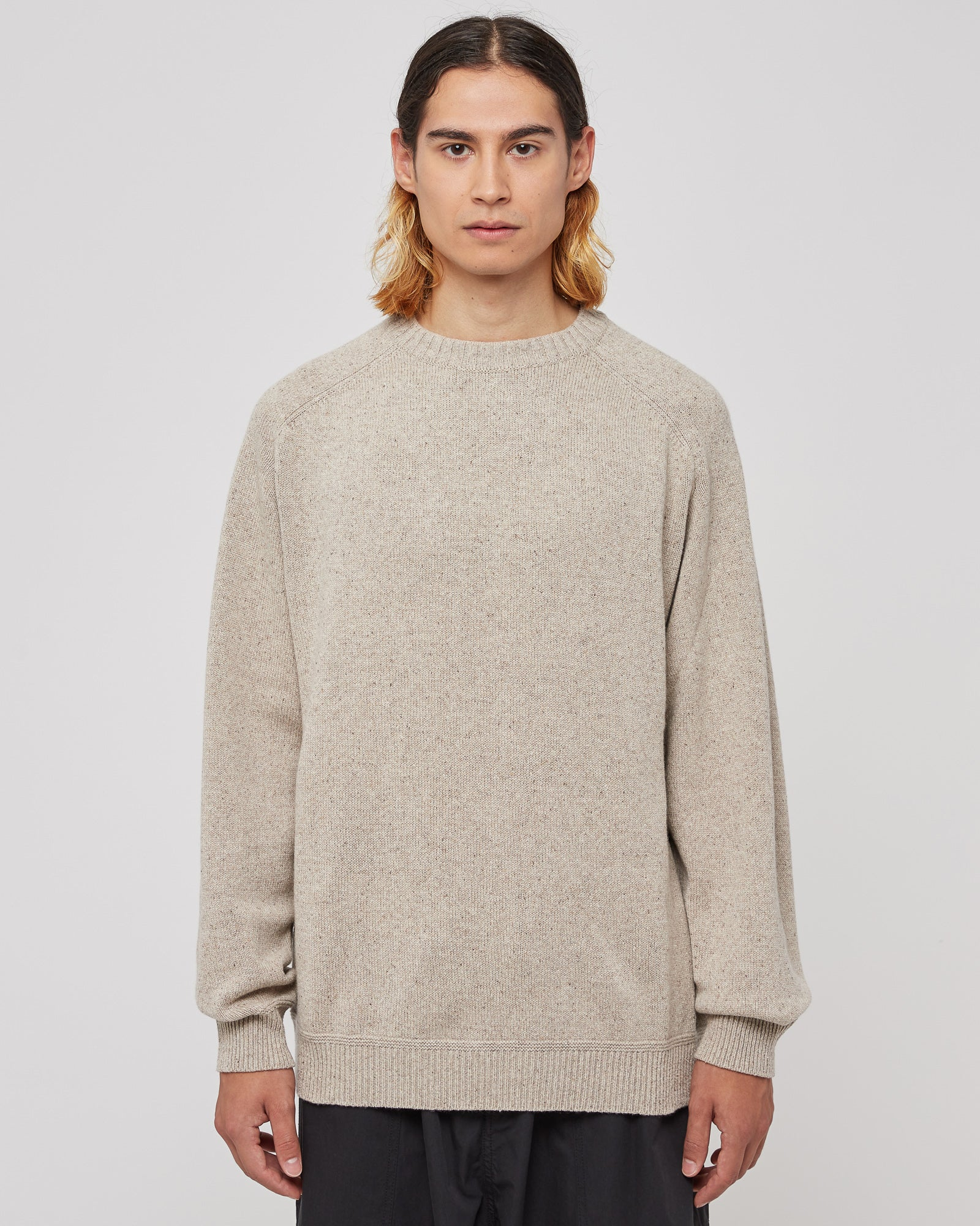 Saddle Sleeve Nepped Knit Sweater in Oatmeal