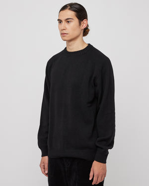 Saddle Sleeve Nepped Knit Sweater in Black