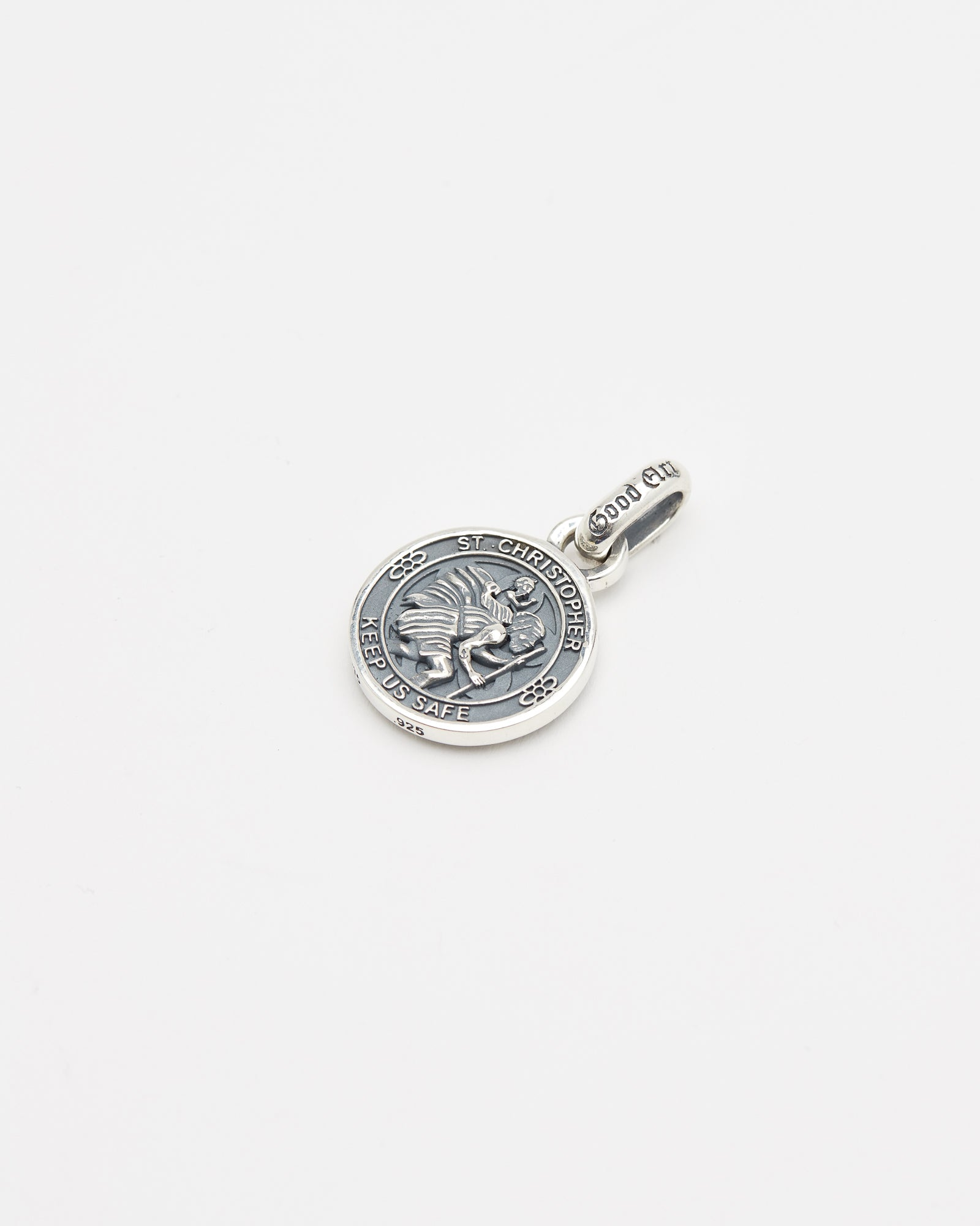 Saint Christopher Pendant, Rosette Burst, Sterling