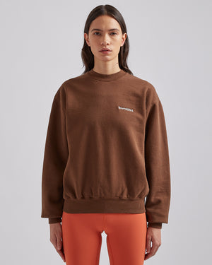 Serif Logo Crewneck in Chocolate