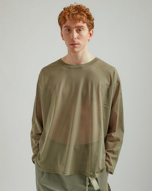 Side Slit Crewneck Shirt in Olive