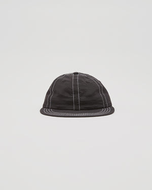Six Panel Contrast Stich Cap in Black/Lavender