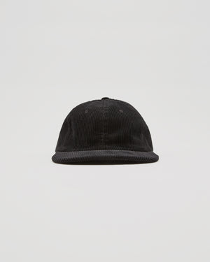 Six Panel Corduroy Cap in Black