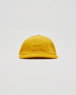 Six Panel Corduroy Cap in Gold