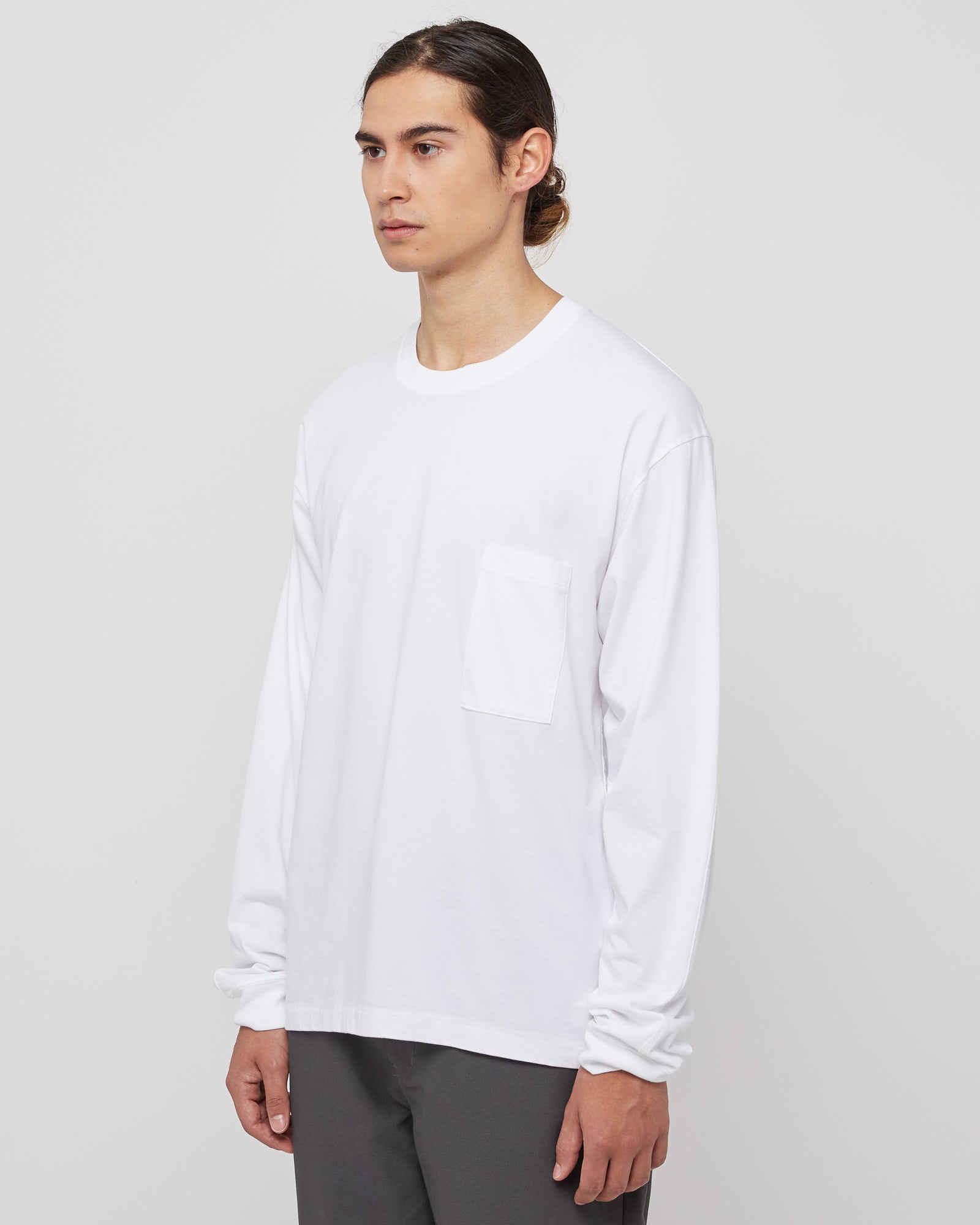 Slim Pocket Long Sleeve in White
