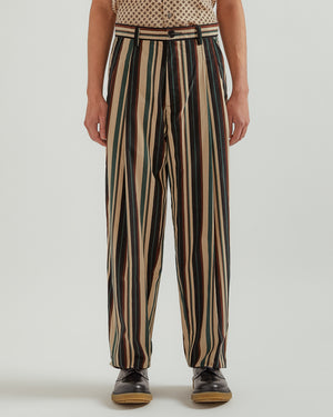 Soft Wave Pleat Trouser in Cream Stripe