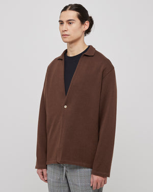 Cotton Blend Knit Jacket in Brown