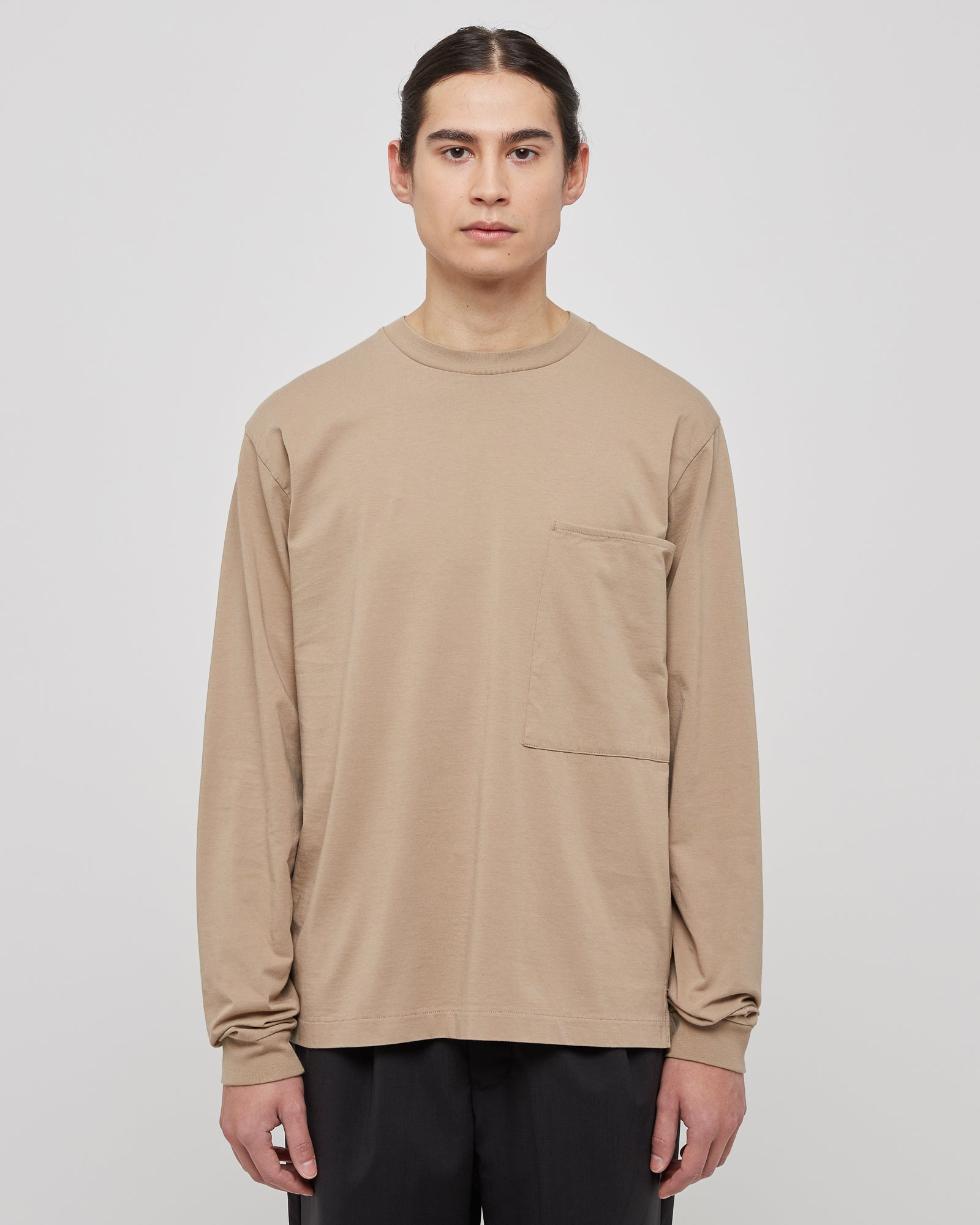 L/S Large Pocket Shirt in Beige