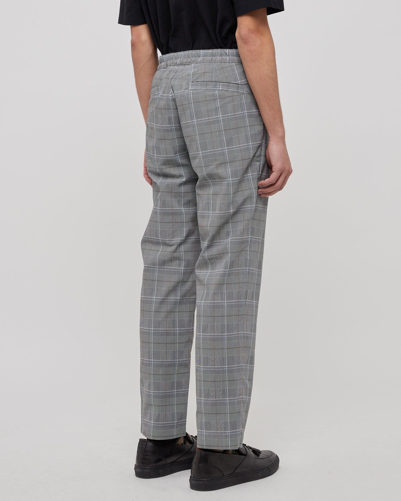 Regular Straight Pants in Gray Check
