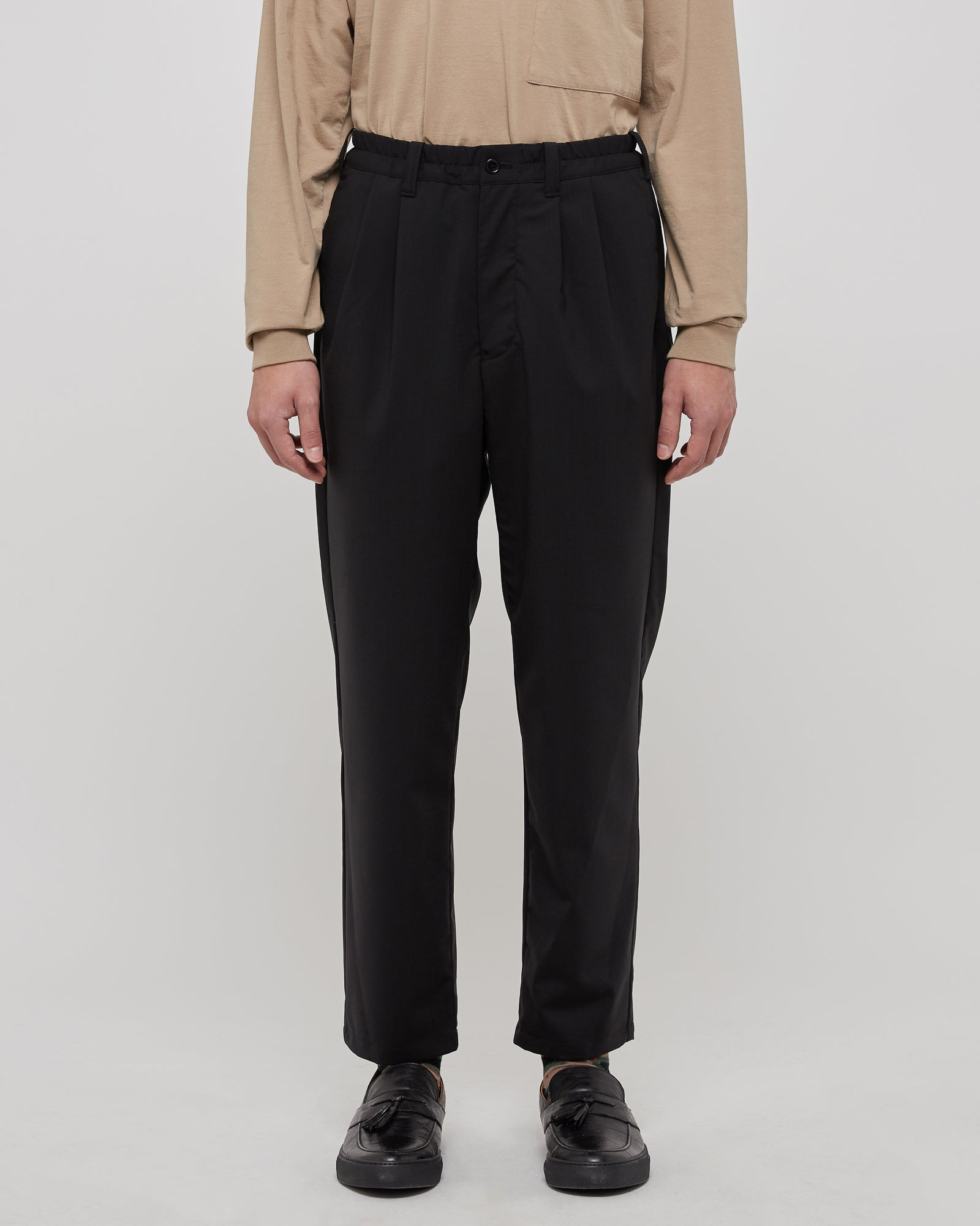 Regular Tapered Pants in Black Check