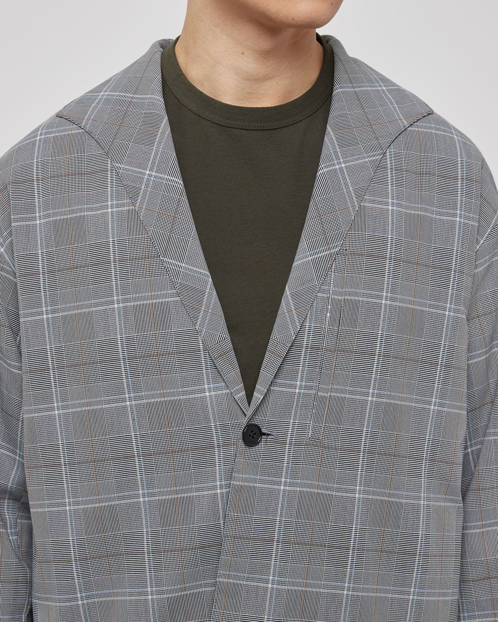 Spread Collar Jacket in Gray Check