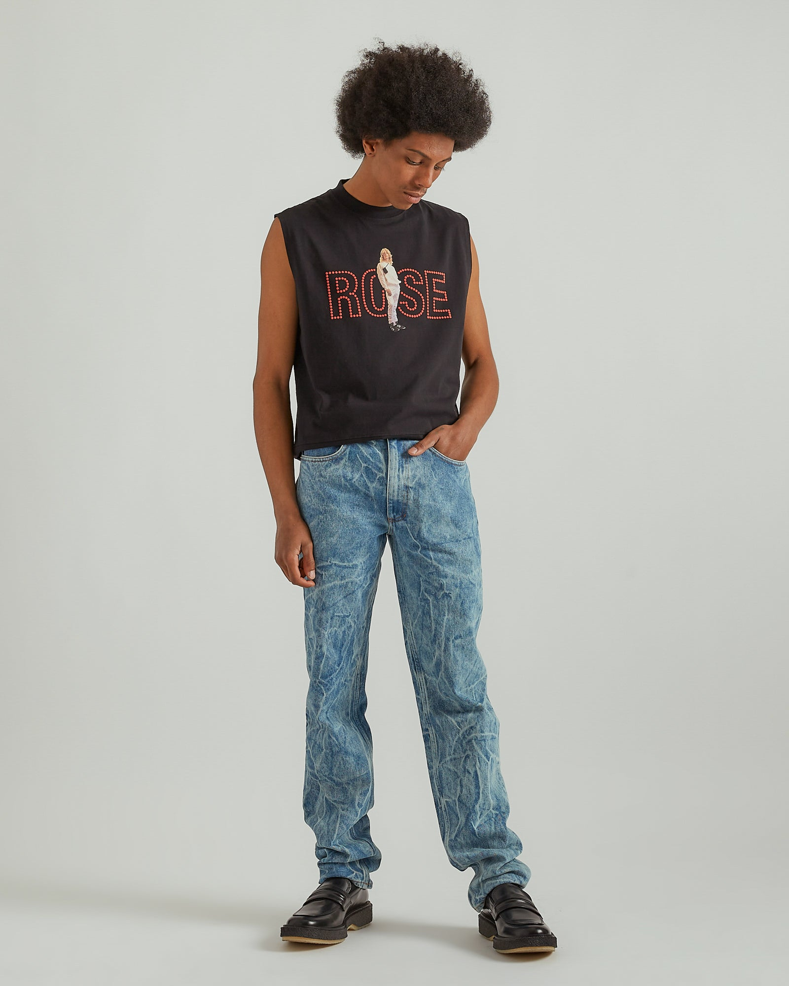 Straight Leg Denim Jeans in Acid Blue