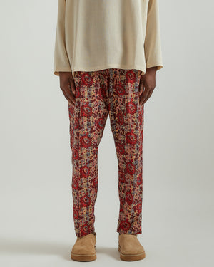String Slack Pant in Red/Beige