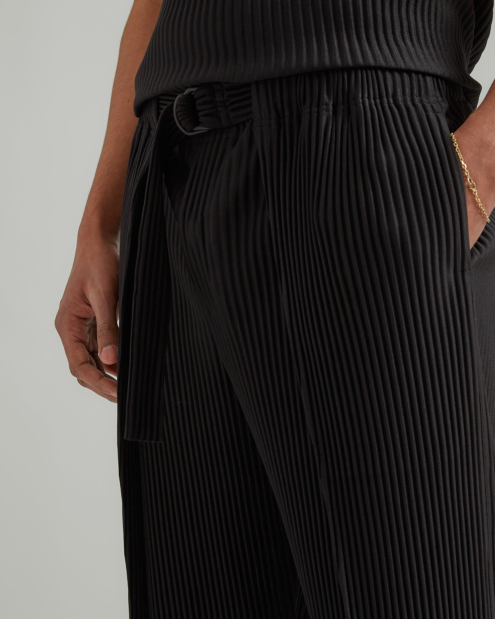 Tailored Pants with Belt in Black