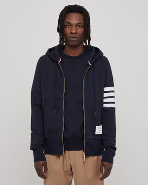 Classic Full Zip Hoodie 4 Bar in Navy
