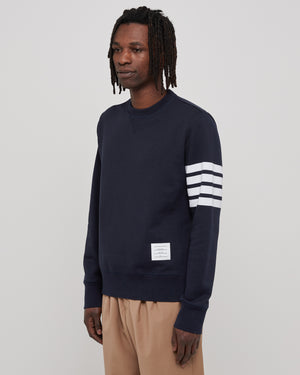 Classic Sweatshirt with Engineered 4 Bar in Navy
