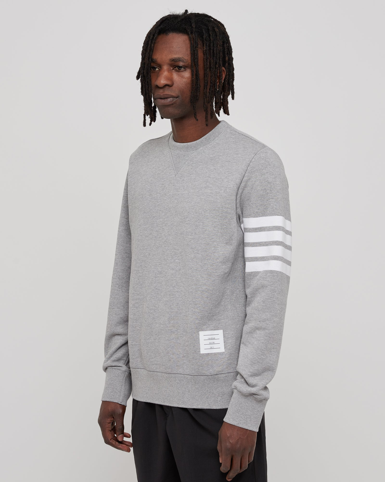 Classic Sweatshirt with Engineered 4 Bar in Gray