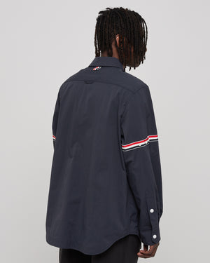 Snap Front Shirt Jacket in Navy