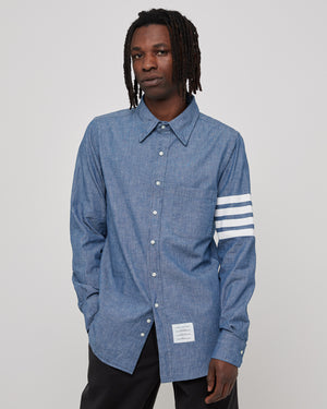 Straight Fit Button Down L/S in Blue