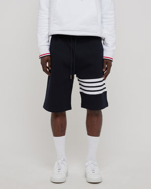 Sweatshorts in Waffle 4 bar stripe Navy