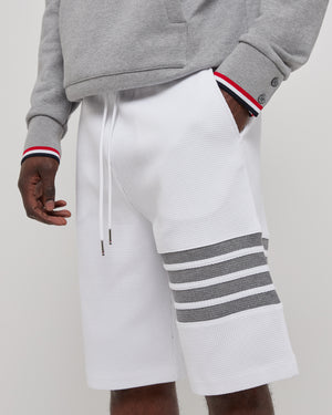 Sweat Shorts in Waffle 4 bar Stripe White