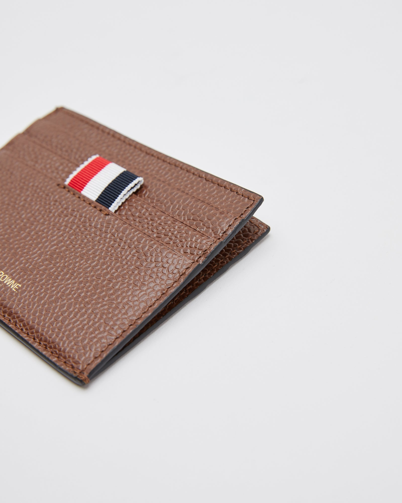 Two Sided Card Holder in Pebble Grain Brown