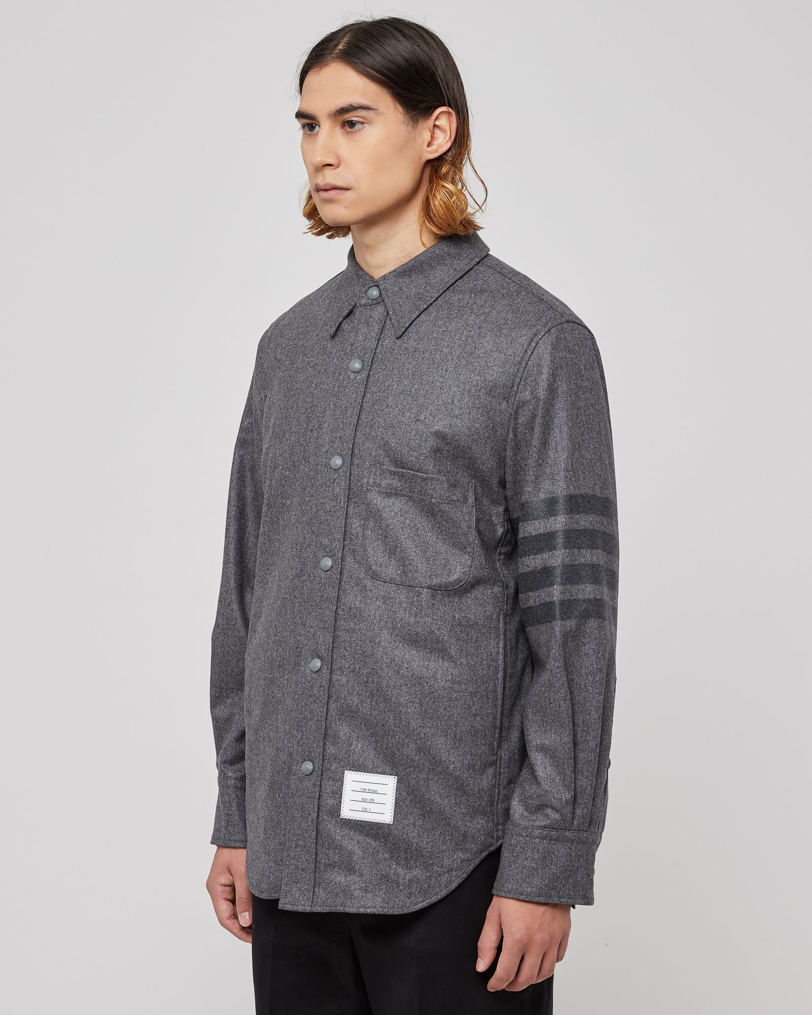Snap Front Shirt in Gray
