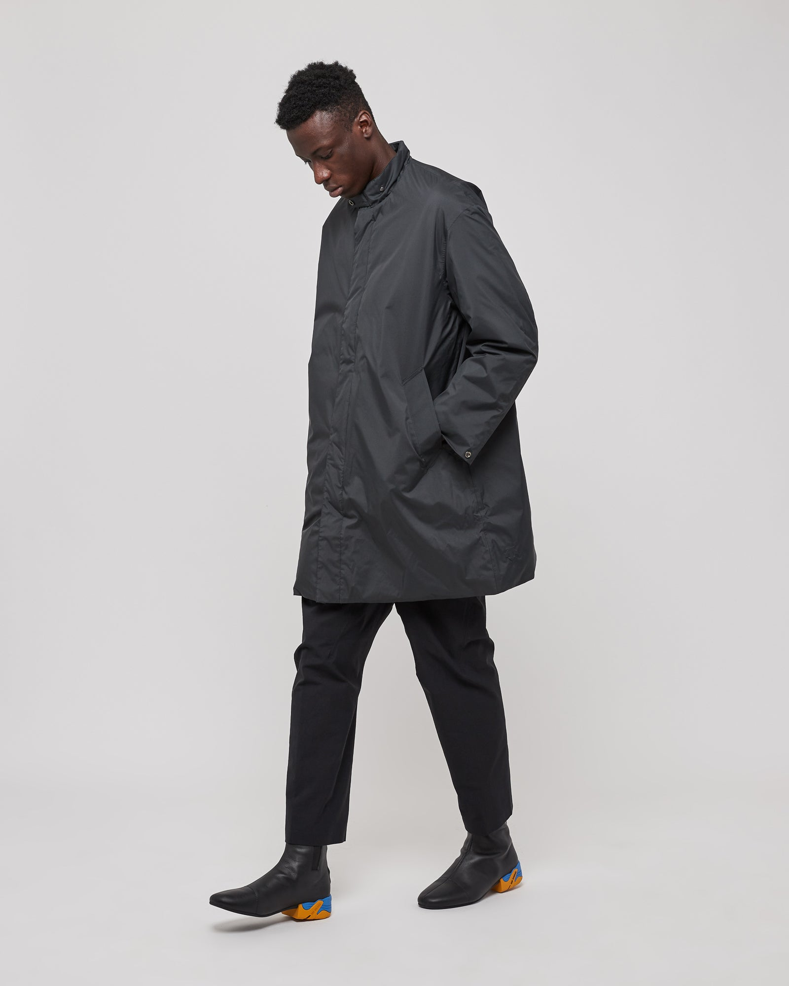 Insulated Trench Coat in Dark Navy