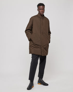 Insulated Trench Coat in Brown