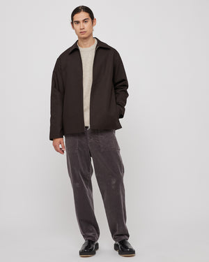 Cloth Zip Up Blouson in Dark Brown
