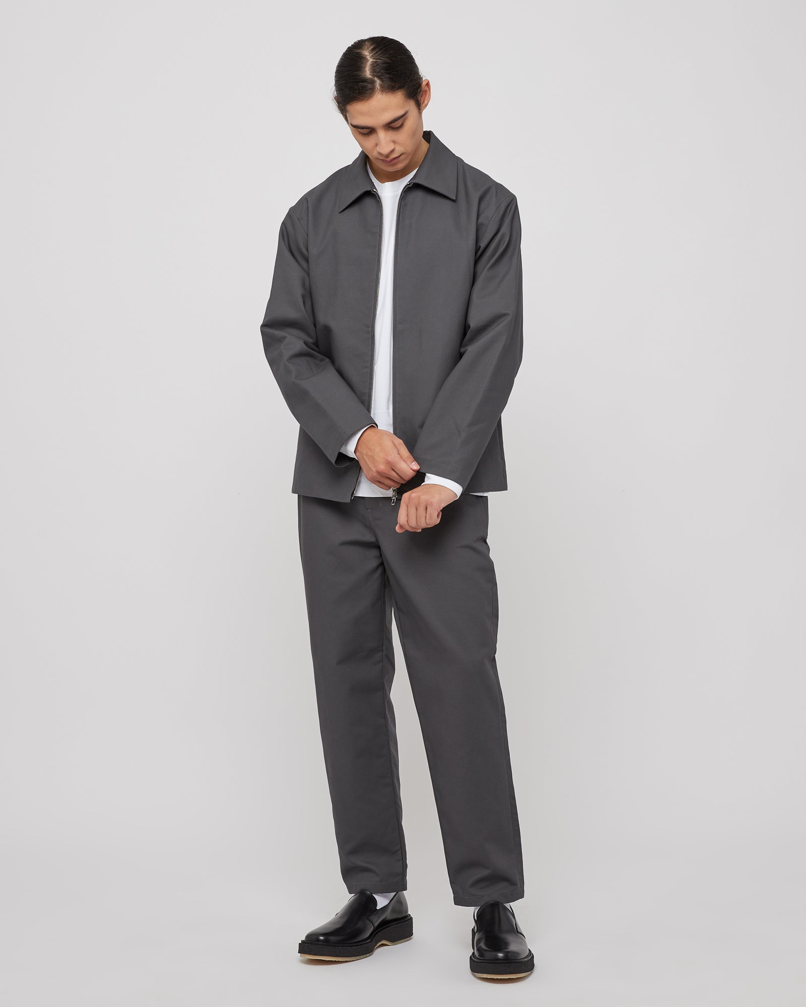 Cloth Zip Up Blouson in Slate Gray