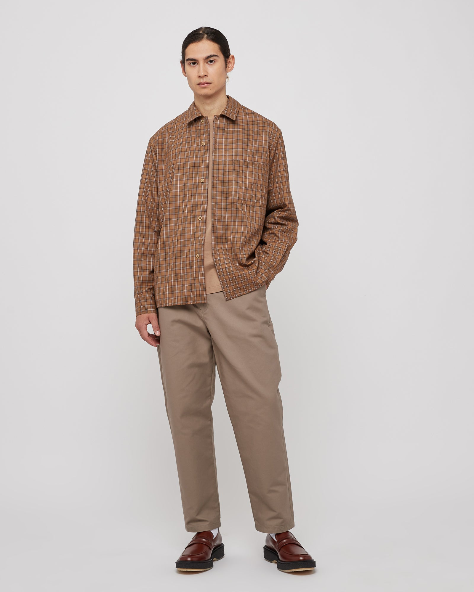Wool Shirt in Brown Check