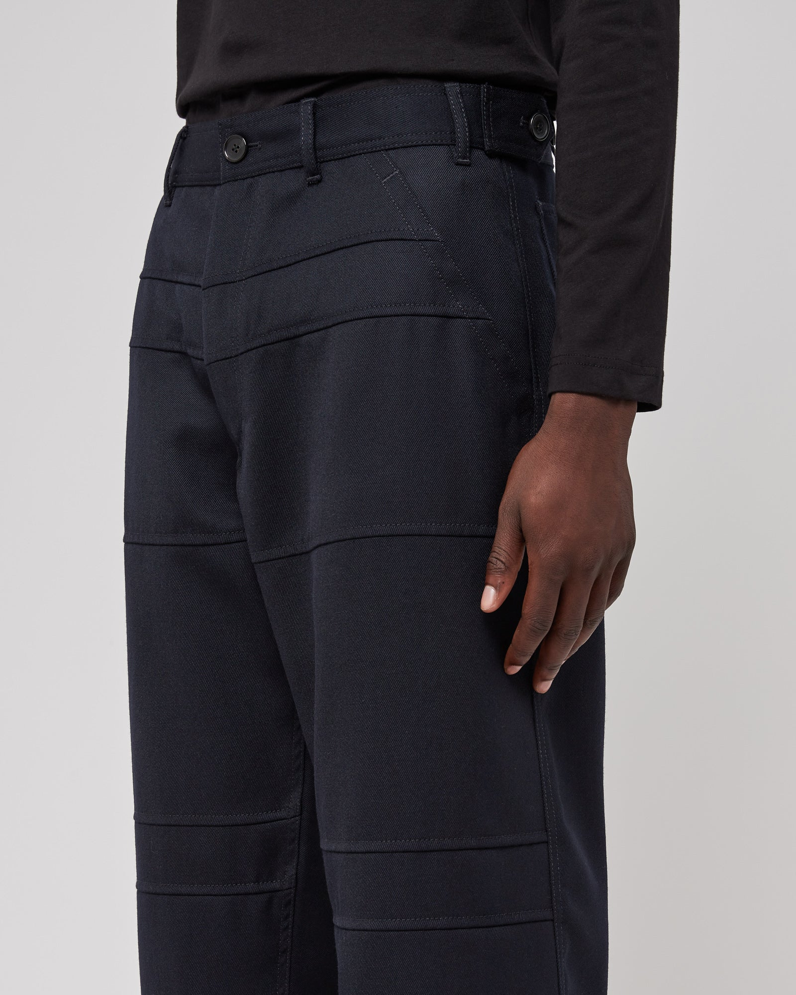 Wool Panelled Pants in Navy