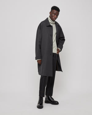 Wool Trench Coat in Anthracite