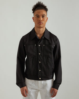 Wool Trucker Jacket in Black
