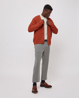Woolrich Cable Cardigan in Smoked Paprika